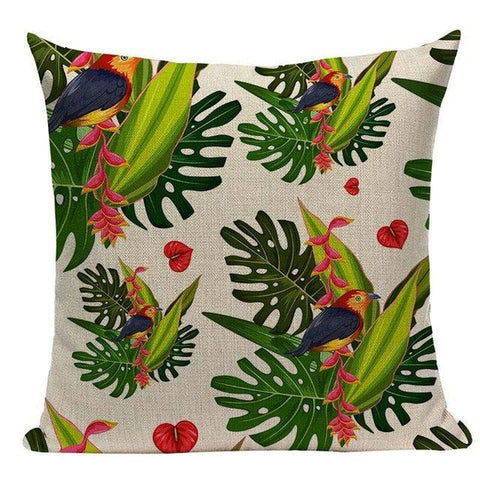 Tropical Flamingo Jungle Throw Pillow Covers-TipTopHomeDecor