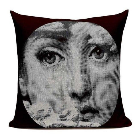Vintage Fornasetti Art Beauty Face Pillow Covers-Tiptophomedecor