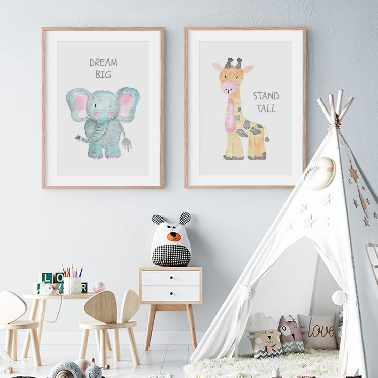 Watercolor Baby Animal Quote Nursery Canvas Wall Art Prints-TipTopHomeDecor