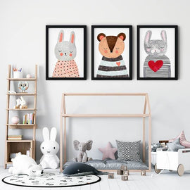 Watercolor Cartoon Rabbit Bear Cartoon Nursery Canvas Wall Art Prints-TipTopHomeDecor