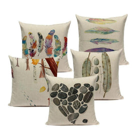 Watercolor Hand Painted Colored Feathers Sofa Cushion Covers-Tiptophomedecor
