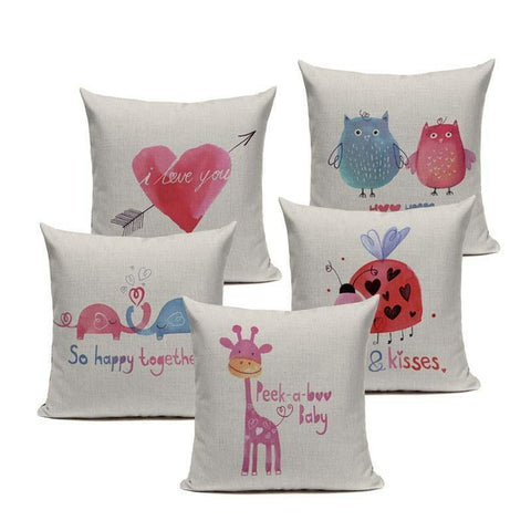Watercolor Pink Blue Nursery Art Cushion Covers-Tiptophomedecor