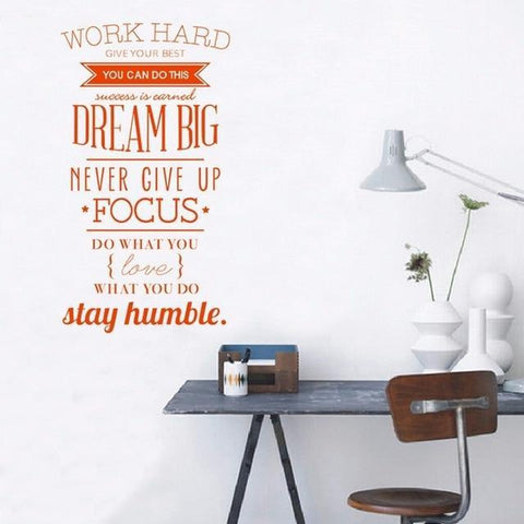 Work Hard Dream Big Vinyl Wall Sticker