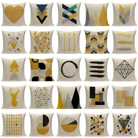 Yellow Blue Grey Cushion Covers-TipTopHomeDecor