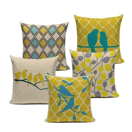 Tiptophomedecor Yellow Love Birds Cushions Covers