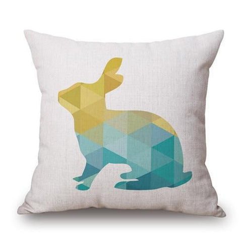 Yellow Turquoise Geometric Nordic Animals Pillow Cases-Tiptophomedecor