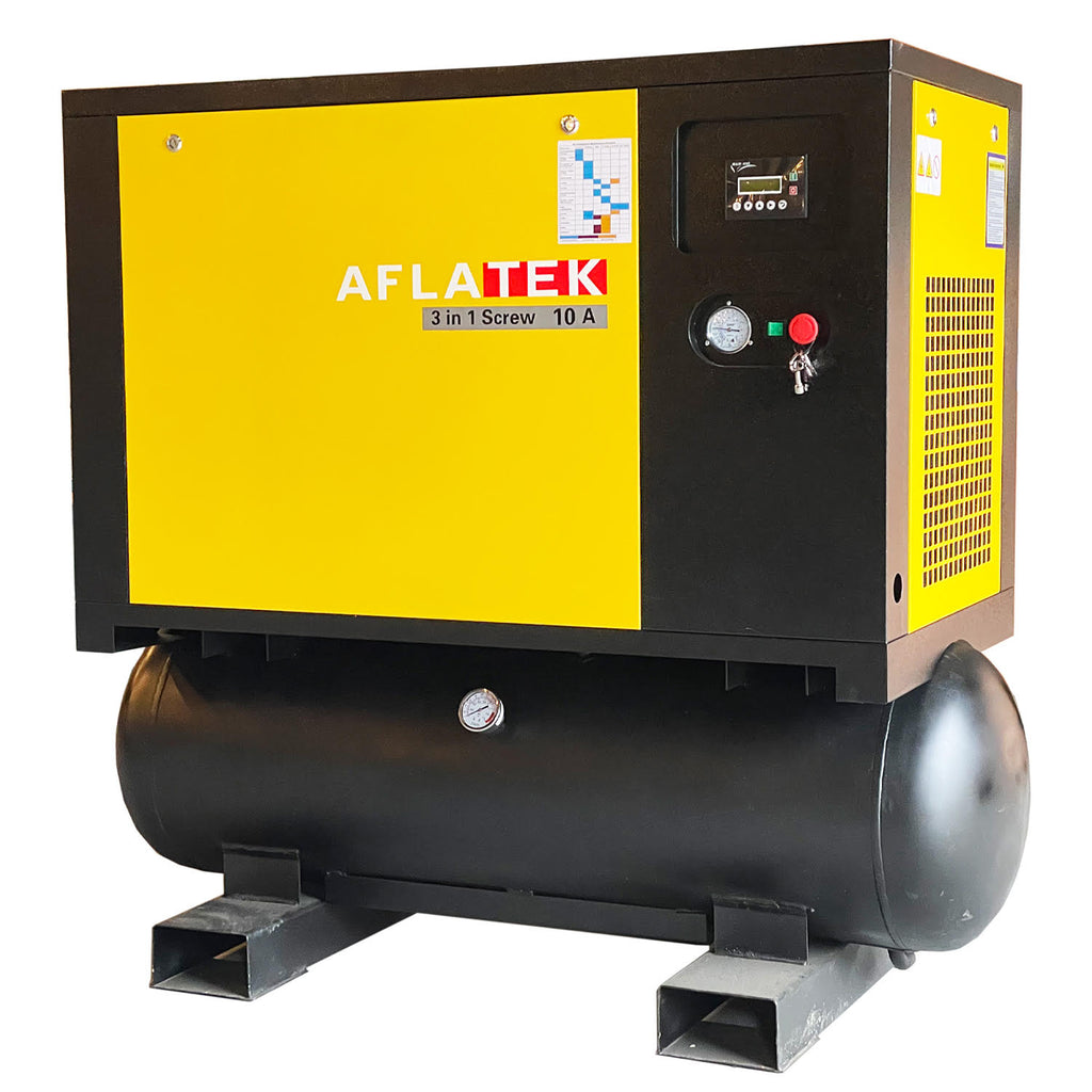 Tank Mounted Screw Compressor With Air Dryer AFLATEK 10A - stokker.co.uk