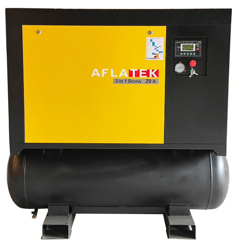 Tank Mounted Screw Compressor with Air Dryer AFLATEK 20A - stokker.co.uk