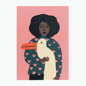 Mini-poster A5 Atelier titi 'girl with big pelican bird'