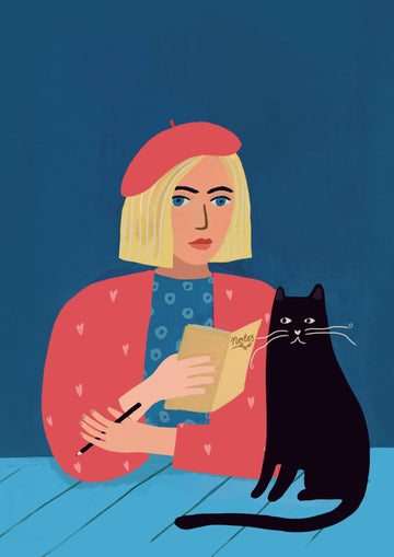 Mini-poster A5 Atelier titi 'girl with black cat'