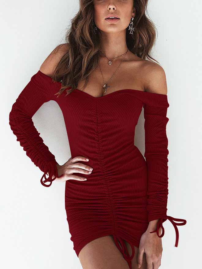 04a4d405d4ab Off Shoulder Ribbed Black Ruched Long Sleeve Sexy Bodycon Dress ...
