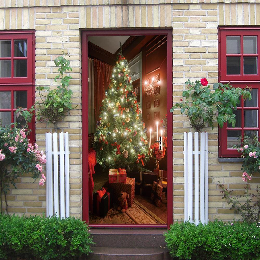 2 Pcs Christmas Decorations 3d Door Decals Self Adhesive Stickers