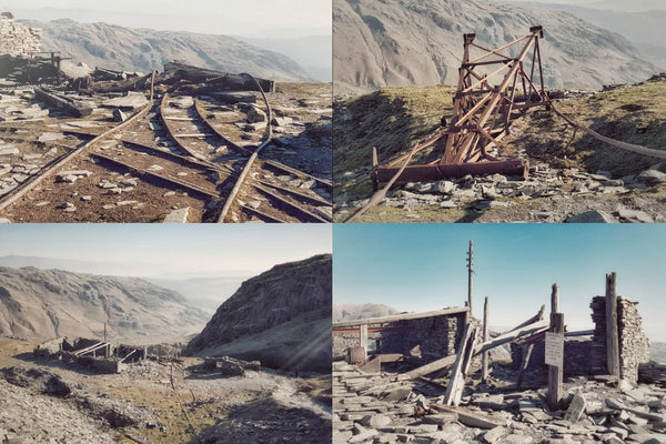 A montage of photos of the old industry left behind on Coniston Old Man