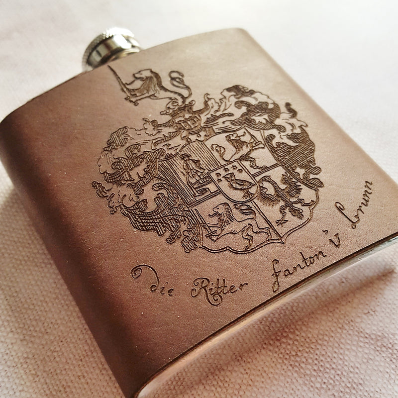 Family Crest engraved hip flask
