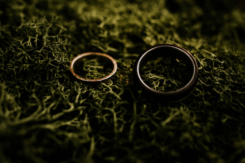 Handmade Wedding Rings inspired by woodland, photo by Shutter Go Click
