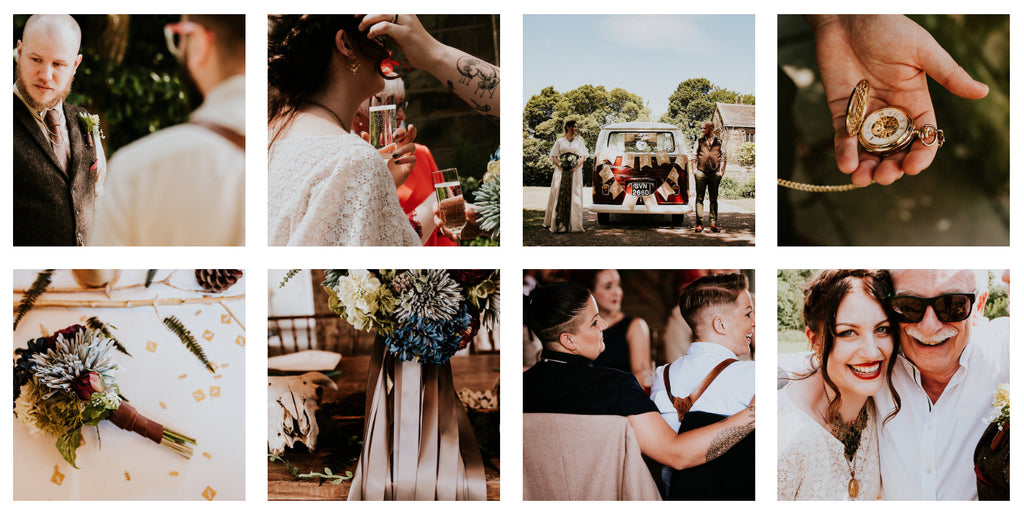 Boho wedding with lots of leather and skulls, photographed by Shutter Go Click.