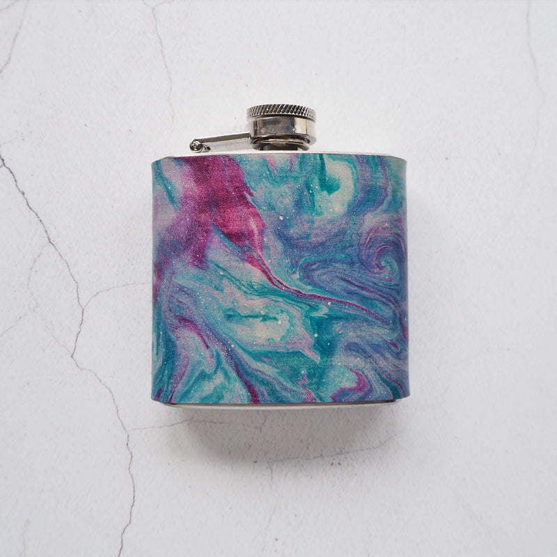The nebula leather hip flask by Hord