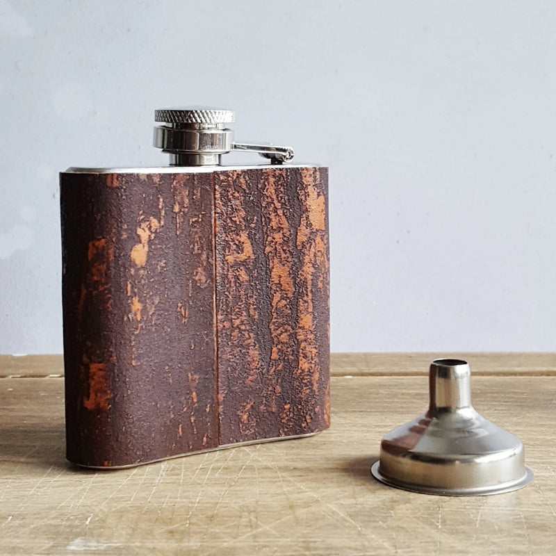 The Bark Leather Flask-Hip Flask-HÔRD