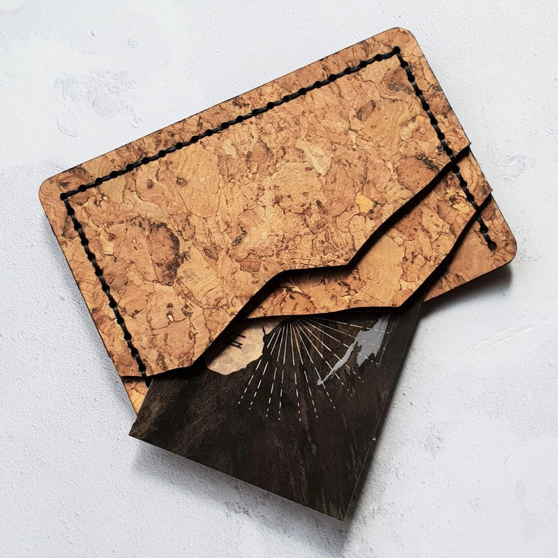 Natural pale flecked cork cut into the shape of mountains to create this amazing and unique card holder wallet design