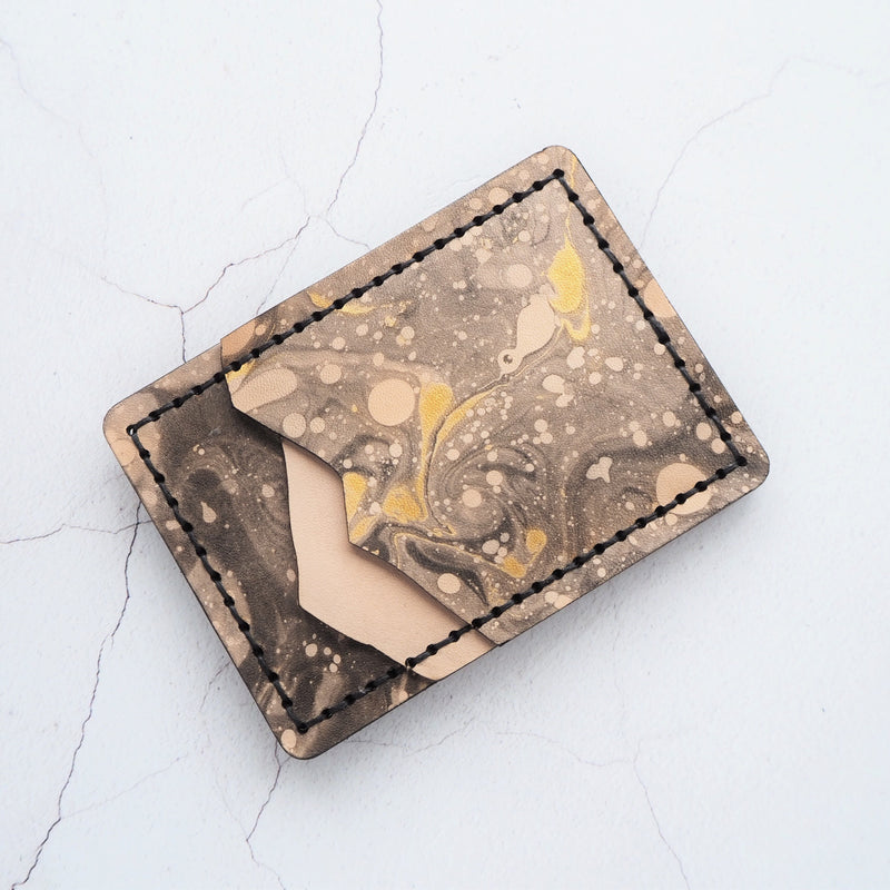 Cosmos money clip card holder, by Hord. Leather and black marbled leather wallet.