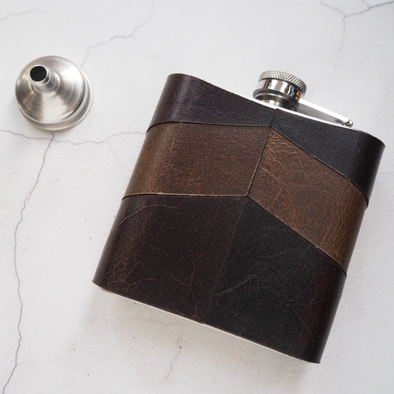 The Dark Chevron Hip Flask by Hord