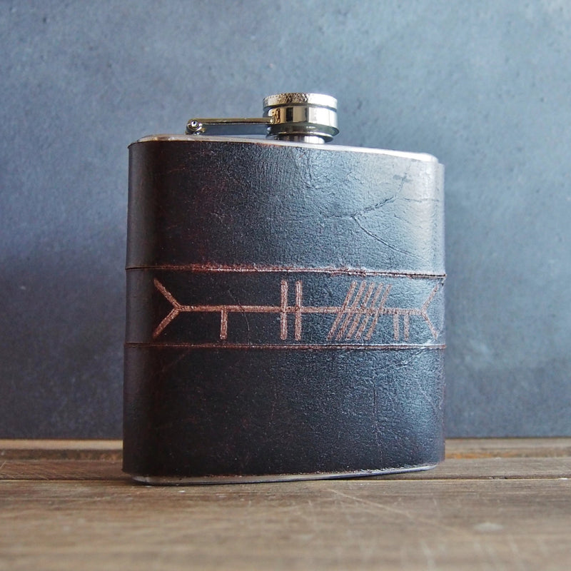 The Ogham Leather Hip Flask-Hip Flask-HÔRD
