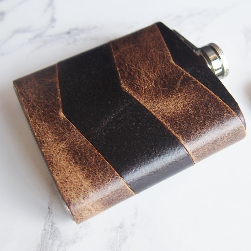The Oak Chevron Leather Hip Flask-Hip Flask-HÔRD