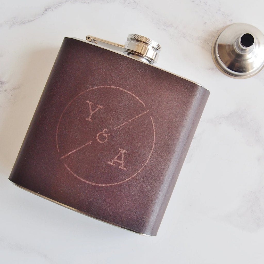 The Circle Monogram Flask-Hip Flask-HÔRD