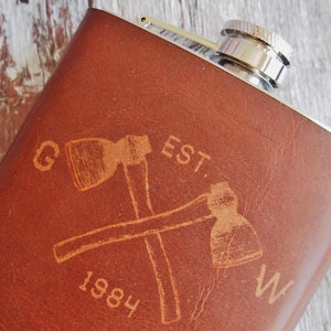 The Woodsman Leather Flask-Hip Flask-HÔRD