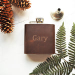 The Waxed Brown Leather Flask-Hip Flask-HÔRD