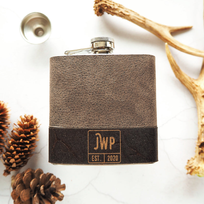 The Square Monogram Flask-Hip Flask-HÔRD