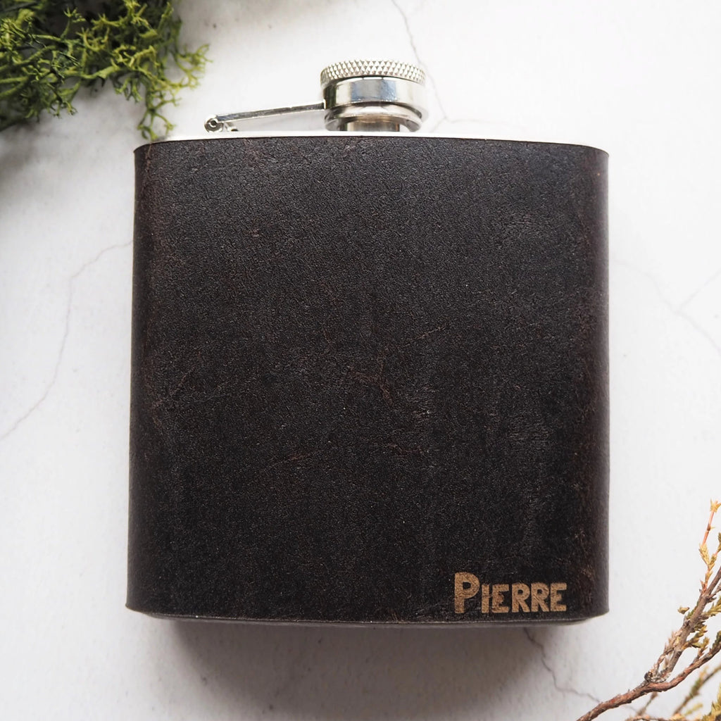 The Peat Leather Flask-Hip Flask-HÔRD