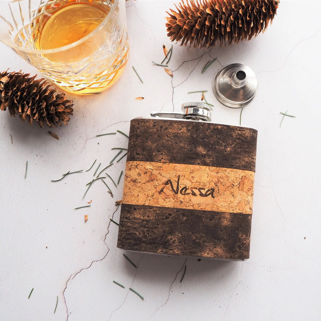 Initialled Cork Hip Flask - Bark & Natural-Hip Flask-HÔRD