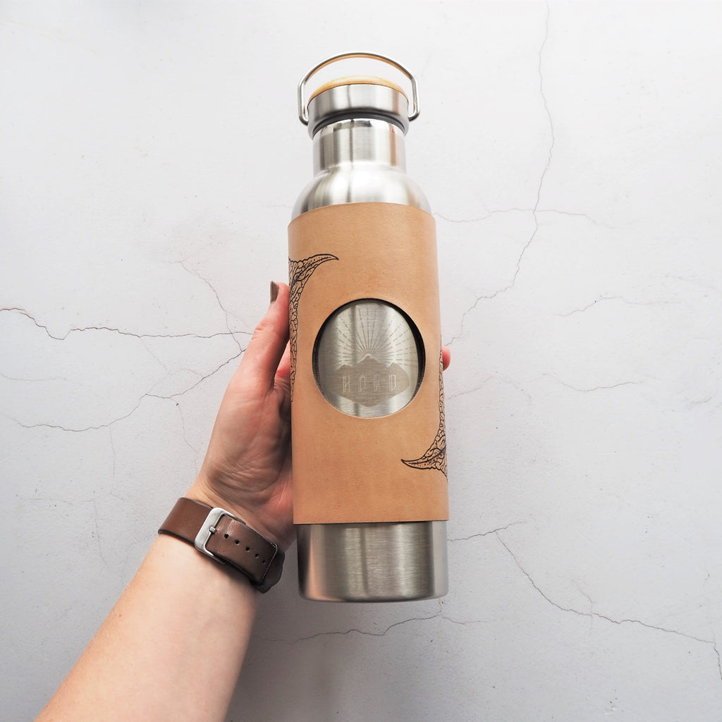 The Mulberry Leaf Adventure Bottle by Hord, leather wrapped insulated water bottle