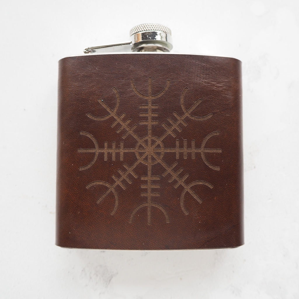 Ægishjálmur Waxed Leather Flask