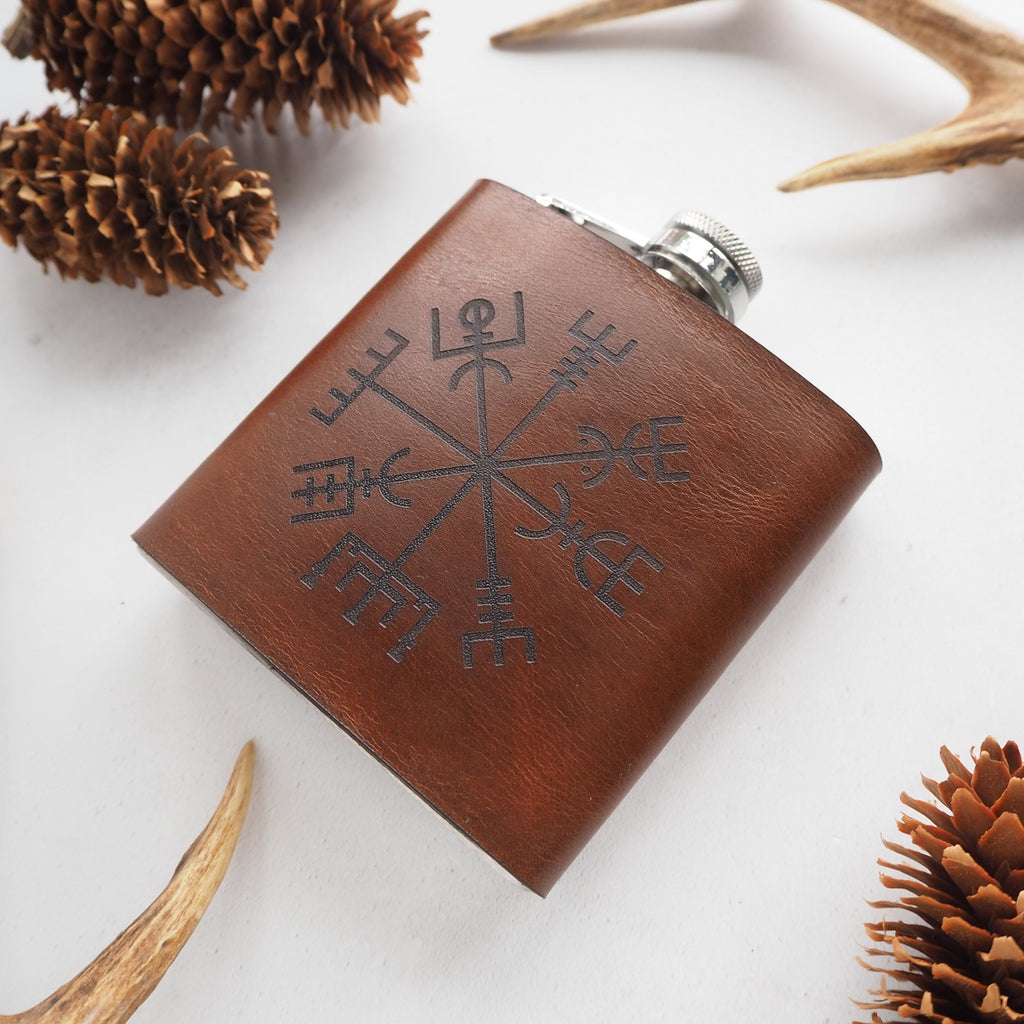 The Vegvisir Leather Flask in Tan-Hip Flask-HÔRD