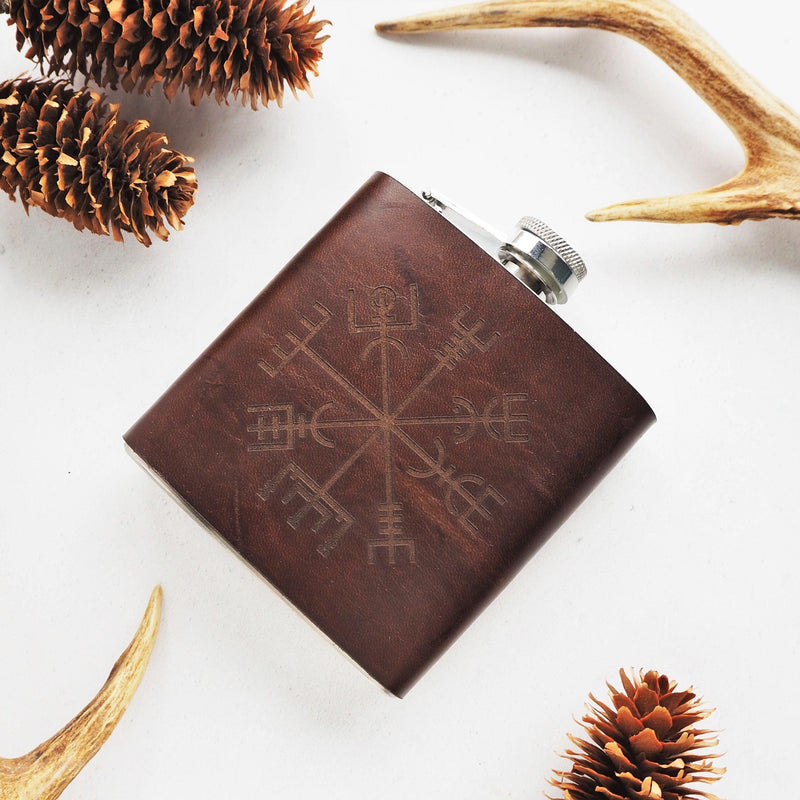 The Vegvisir Leather Flask -Hip Flask-HÔRD