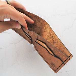 HORD cork mountain wallet, full size bi-fold, £70.00 - opened up to show the inside of the note pouch in the back of the wallet