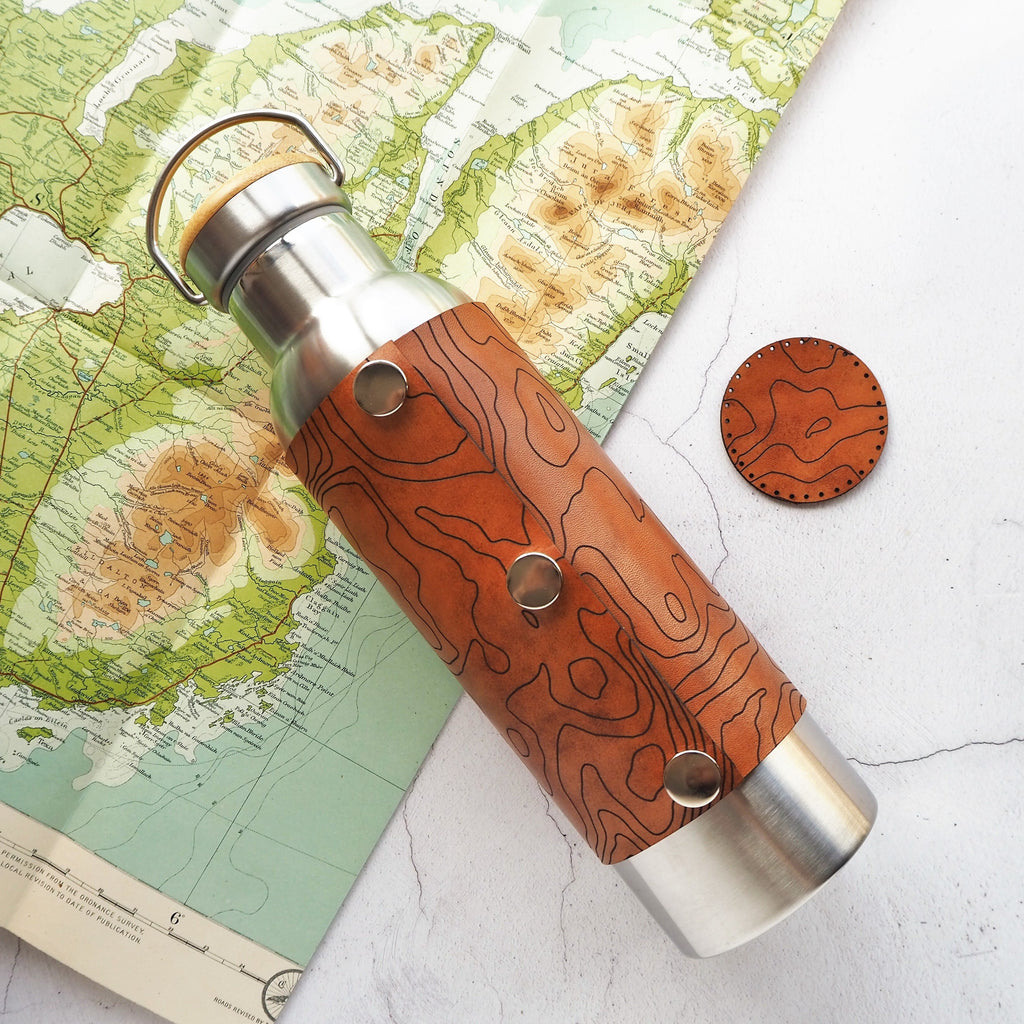The Custom Topography Leather Adventure Bottle