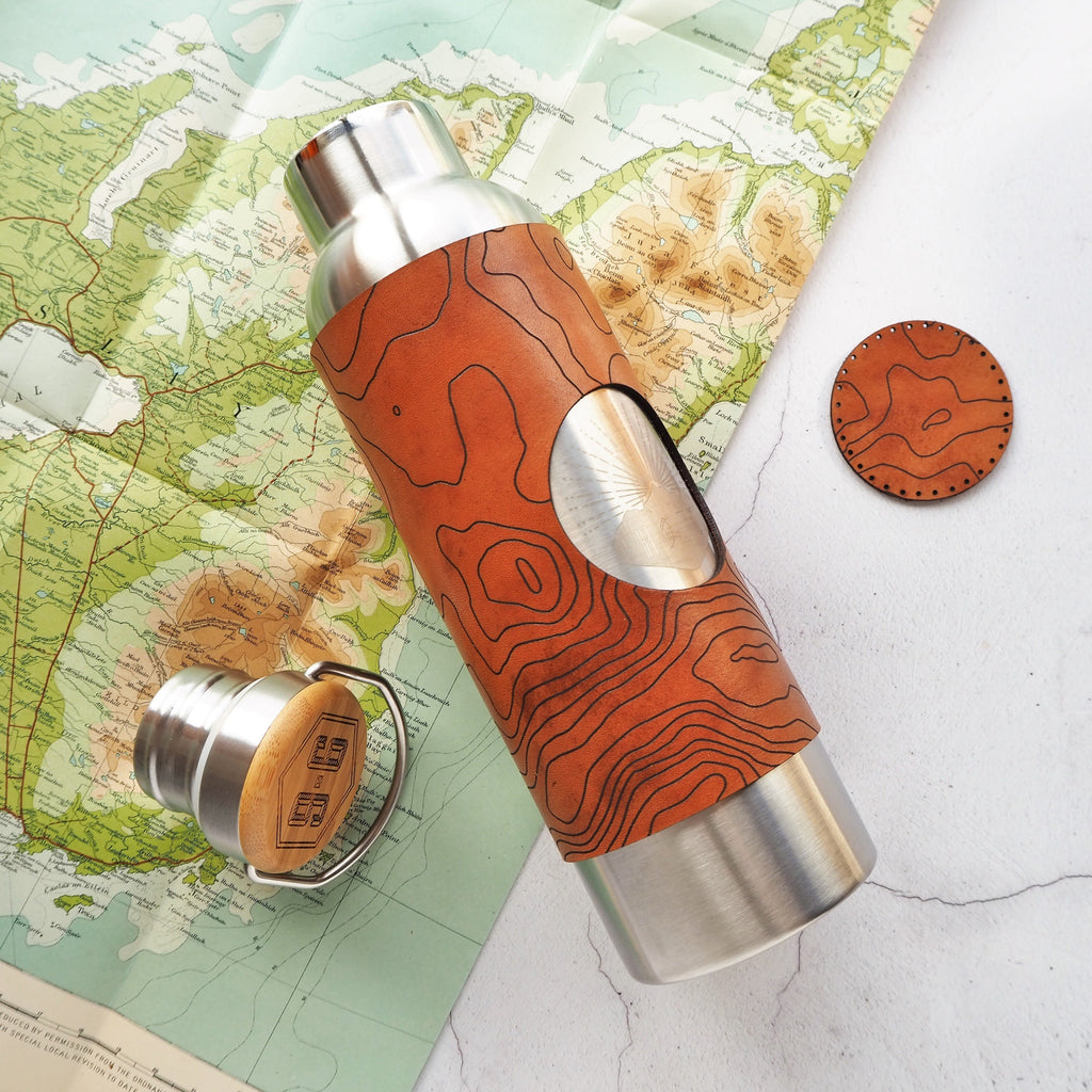 The Custom Topography Leather Adventure Bottle-Bottle-HÔRD