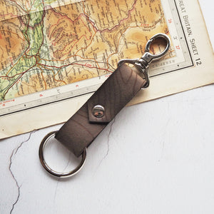 The Ben Nevis Leather Key Fob, engraved with the contour lines of Ben Nevis. By Hord.