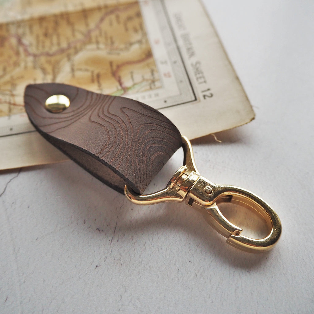 The Snowdon Leather Key Fob, Engraved with the Topographic Map Lines of Mount Snowdon. By Hord