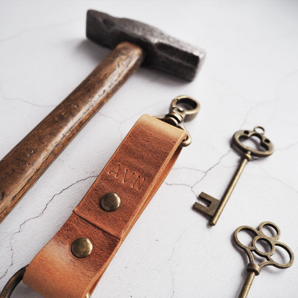 The Dyrr Leather Key Fob, Made from resilient leather belting and hand stamped with your initials. By Hord