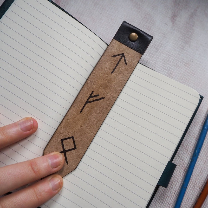 rune leather bookmark by Hord