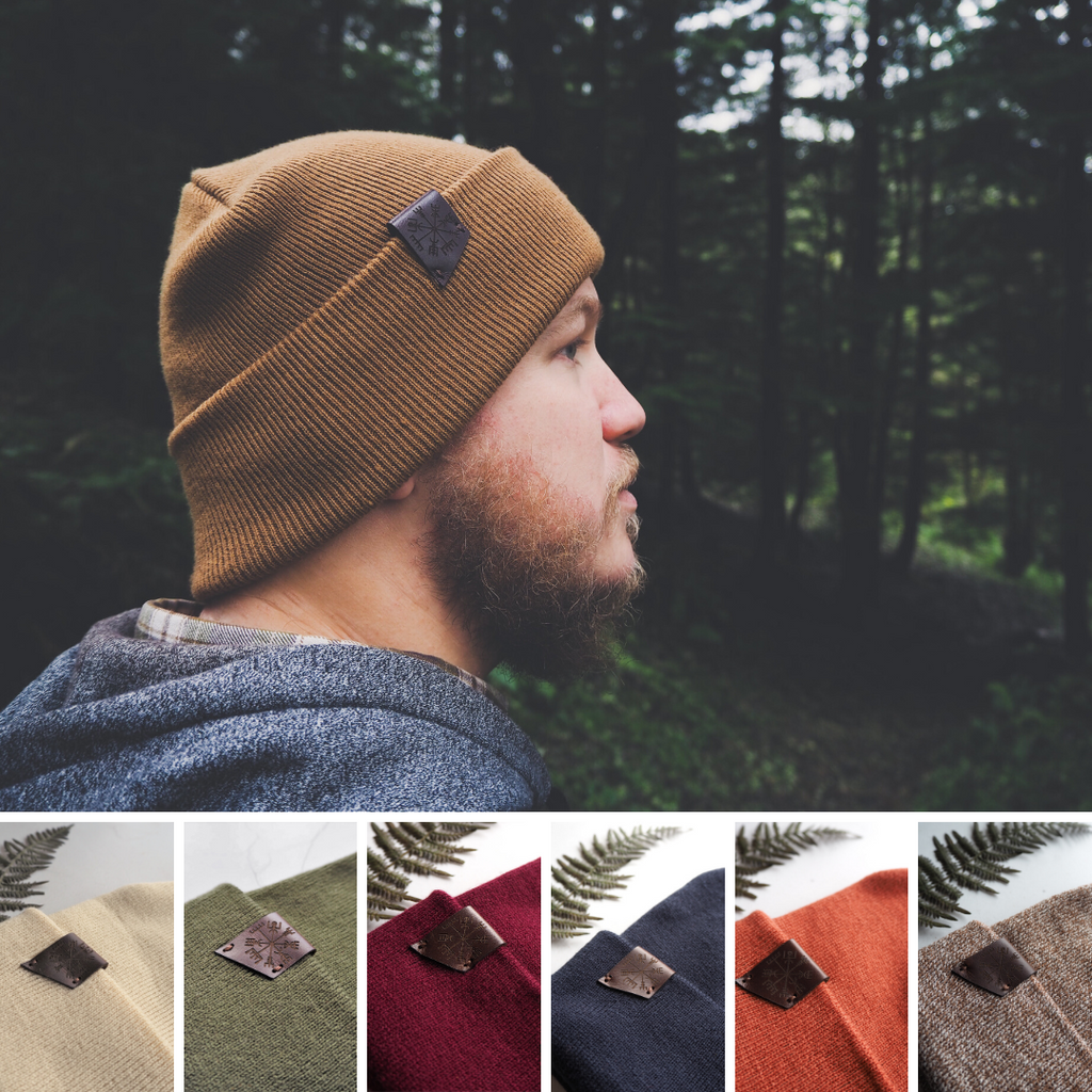 The HORD Vegvisir Beanie is available in a variety of colours with a leather tab engraved with the Icelandic Vegvisir stave. It is made from acrylic wool, so it's safe for allergy sufferers.