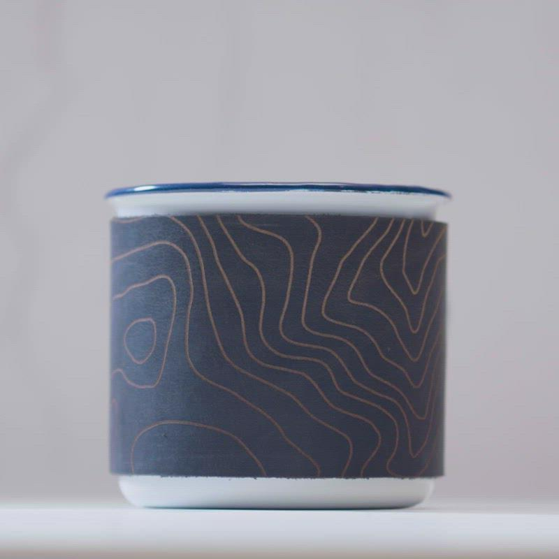 Enamel Mug with Custom Topography Leather Wrap
