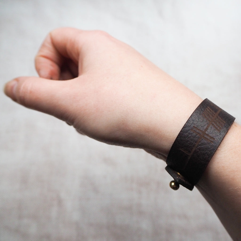 The Ogham Leather Cuff, by Hord