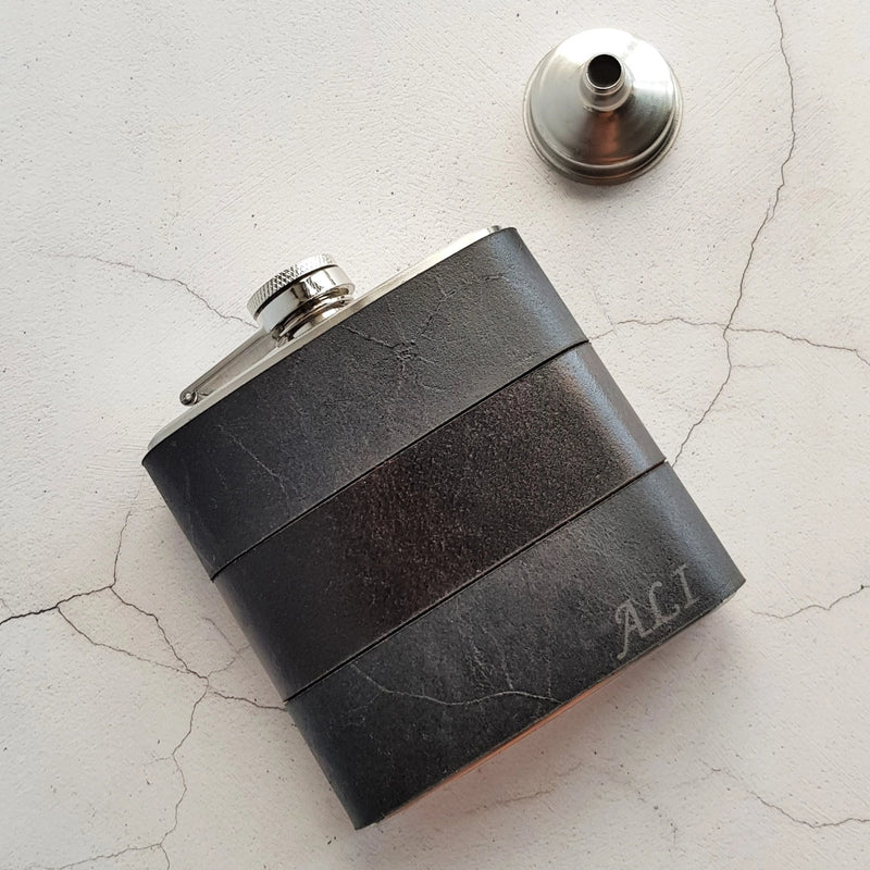 The Smoke and Peat Leather Flask-Hip Flask-HÔRD
