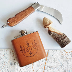The Camp Fire Leather Hip Flask-Hip Flask-HÔRD