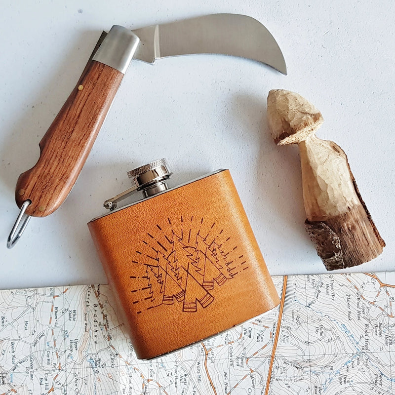 The Camping Leather Hip Flask-Hip Flask-HÔRD